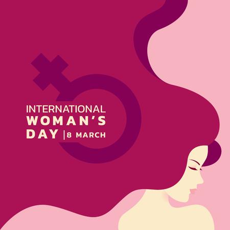 女性と長い髪と女性のサインバナーベクトルデザインと国際女性の日  イラスト・ベクター素材