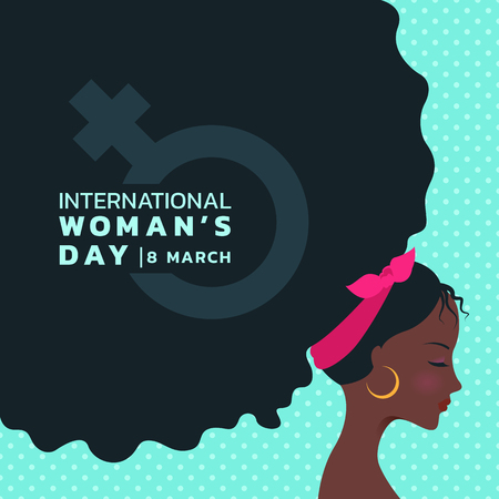international women's day with african lady are Curly hair and woman sign banner vector design