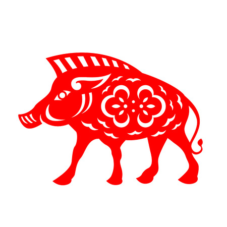 Red paper cut boar zodiac sign vector design