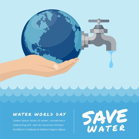 De werelddag van het water met de kraan van de handgreep of waterkraan met een druppel water aan aarde en bewaart het vectorontwerp van de watertekst Stock Illustratie
