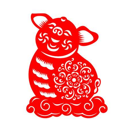 Red paper cut pig zodiac Sit on cloud sign isolate on white background vector design
