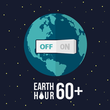 Earth hour with swicth turn off on earth and stat vector design Illustration