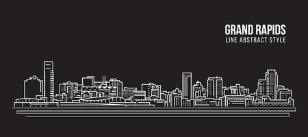 Cityscape Building Line art Vector Illustration design - Grand Rapids city  イラスト・ベクター素材