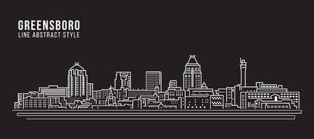 都市景観建築ラインアートベクトルイラストデザイン - グリーンズボロ市