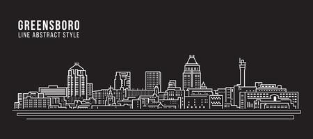 Cityscape Building Line art Vector Illustration design - Greensboro city