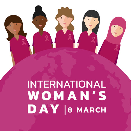 International Woman day with womans group Wear pink shirt and ribbon and pink earth world banner vector design