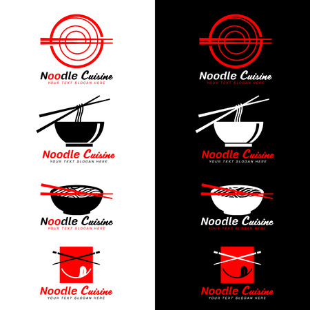 Red and black noodle cuisine icon with chopsticks and noodle soup vector design.