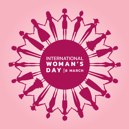International Womens day with pink purple Womans holding hands to circle banner vector design. Illusztráció
