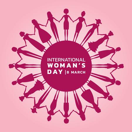 O dia das mulheres internacionais com mulher roxa cor-de-rosa que guarda as mãos para circundar o projeto do vetor da bandeira.
