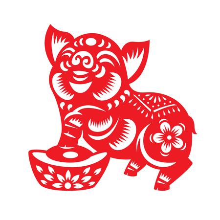 Czerwony papier cięty znak zodiaku świnia i pieniądze izolować na białym tle wektor wzór.
