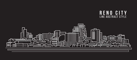 Cityscape Building Line art Vector Illustration design - Reno city