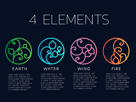 Nature 4 elements in Coil line border  abstract icon circle sign. Water, Fire, Earth, wind. vector design Illustration