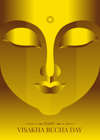 Happy visakha bucha (Vesak) day with abstract gold face Buddha statue vector design
