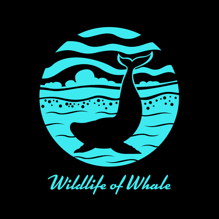 Wildlife of Whale with whale on sea ocean in circle banner sign vector design Illustration