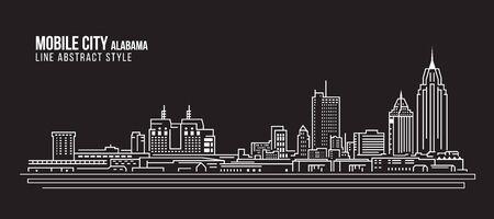 Cityscape Building Line art Vector Illustration design - Mobile city (Alabama)  イラスト・ベクター素材