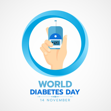 World Diabetes Day banner with hand hold Blood Sugar Test in blue circle sign vector design Vettoriali