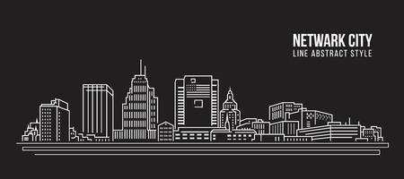 Cityscape Building Line art Vector Illustration design - New haven city