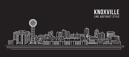 Allineamento dei fabbricati di paesaggio urbano progettazione dell'illustrazione di vettore di arte - città di Knoxville Archivio Fotografico - 96325428