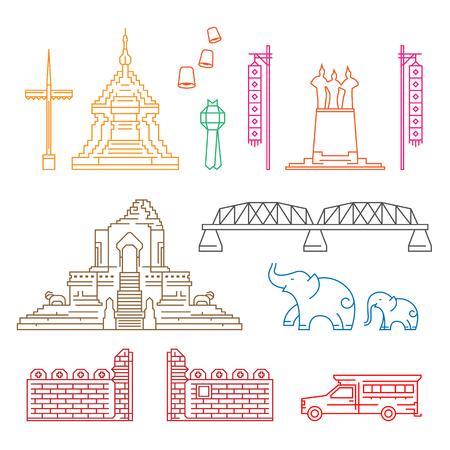 Chiang Mai symbol and landmark with abstract Line border art Vector Illustration set design  イラスト・ベクター素材