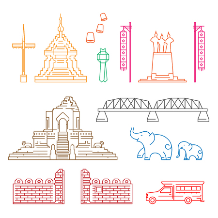 Chiang Mai symbol and landmark with abstract Line border art Vector Illustration set design  イラスト・ベクター素材
