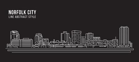 Cityscape Building Line art Vector Illustration design - Norfolk city