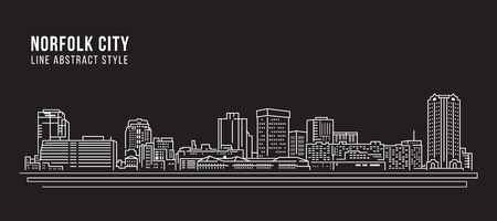 Cityscape Building Line art Vector Illustration design - Norfolk city