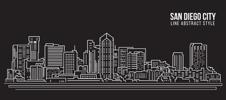 Allineamento dei fabbricati di paesaggio urbano progettazione dell'illustrazione di vettore di arte - città di San Diego Archivio Fotografico - 96730215