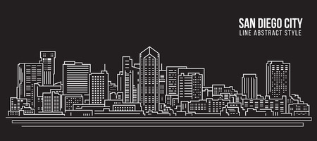 Cityscape Building Line art Vector Illustration design - San Diego city Иллюстрация