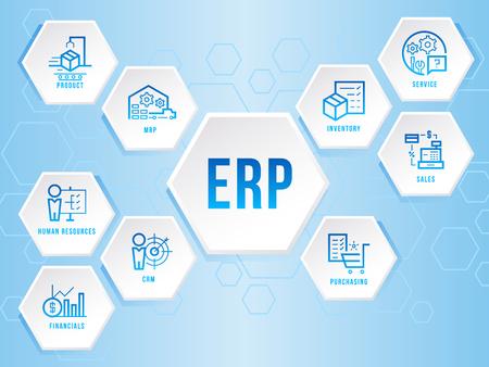 Moduł planowania zasobów przedsiębiorstwa (ERP) Sześciokąt ikona znak infografiki sztuka wektor projekt Ilustracje wektorowe