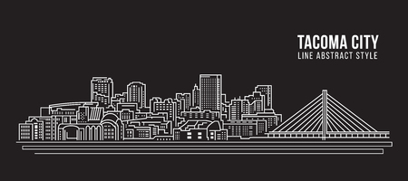 Cityscape Building Line art Vector Illustration design - Tacoma city