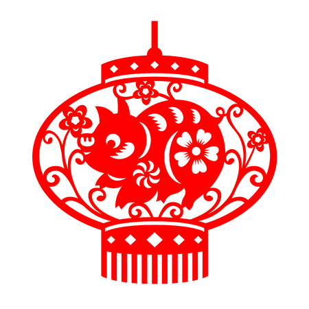 Red paper cut pig design and flower in china lantern sign vector design Illustration