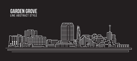 Cityscape Building Line art Vector Illustration design - Garden grove city