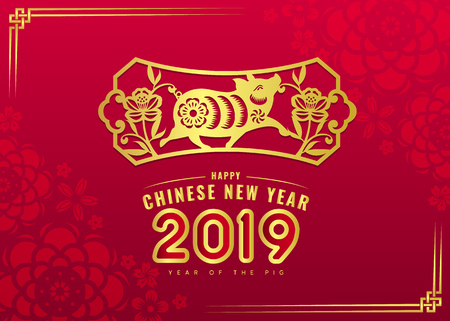 Happy Chinese New Year 2019 card with gold pig zodiac and flower in frame sign on red flower texture background vector design.