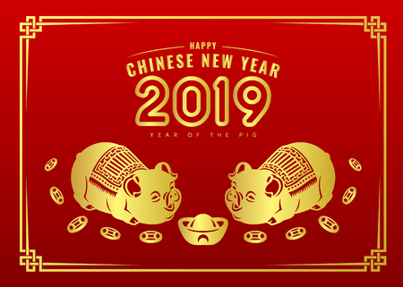 Happy chinese new year 2019 banner card with gold twin pig zodiac sign and china money coin red background vector design
