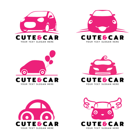 Cute and car logo with pink car vector set design Ilustrace