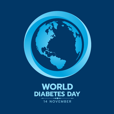 World Diabetes Day banner with earth world map sign in blue circle sign on dark blue background vector design
