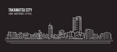 Takamatsu Cityscape in whit lines on a black background Illusztráció