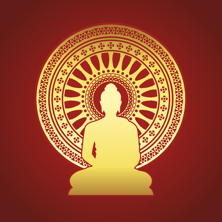 Gold Buddha statue and Dharmachakra wheel of dhamma sign on red brown background vector design