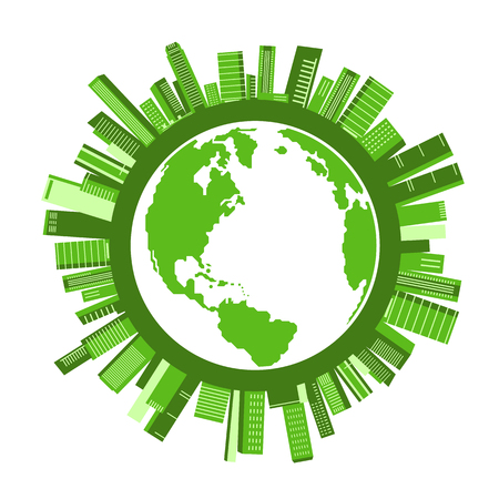Illustration of green city buildings around a circle of a globe
