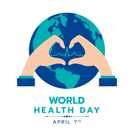 World health day with circle earth word and hand Making Sign Heart and heart wave sign vector design Vectores