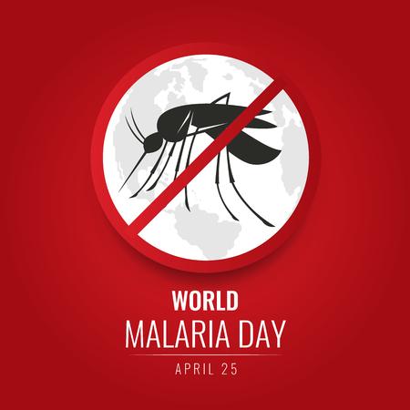 Światowy dzień malarii bez znaku komara i mapa świata na czerwonym tle wektor wzór