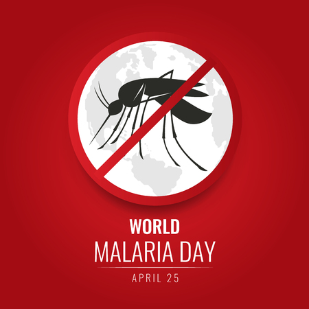 World Malaria day with No Mosquito Sign and world map on red background vector design Çizim