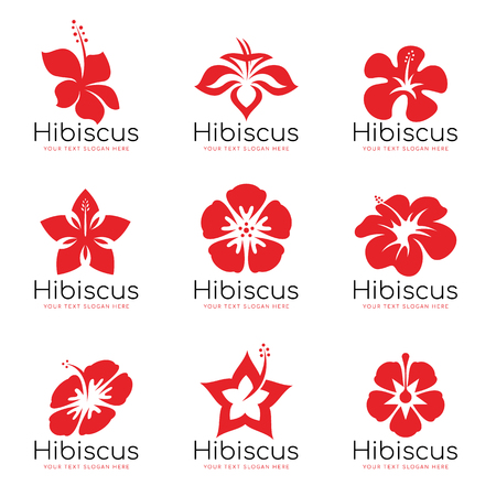 Red Hibiscus flower logo sign vector set design 向量圖像