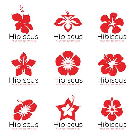 Red Hibiscus flower logo sign vector set design Illustration