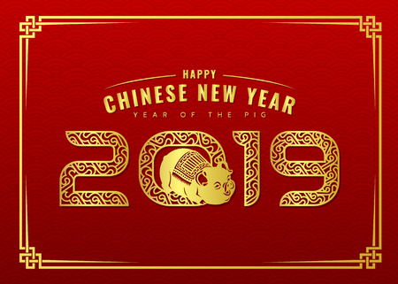 Happy Chinese new year card with gold abstract line border 2019 number text of the year and pig on red background vector design. Illustration