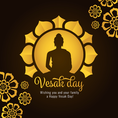 Vesak day banner with Gold Buddha on circle and Lotus petals on dark background vector design.