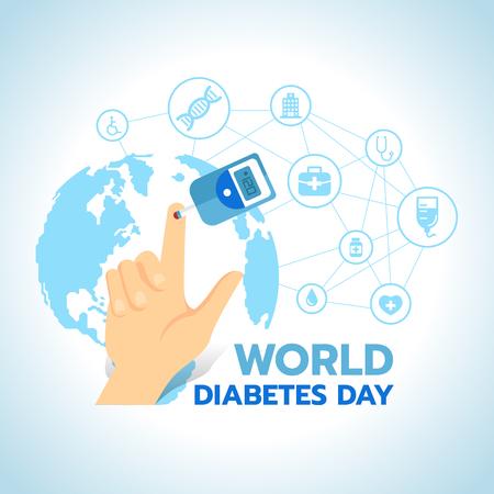 Bannière de la journée mondiale du diabète avec test de glycémie et sang sur le doigt sur la carte du monde bleu avec résumé connecter le lien à la conception d'icônes médicales signe vector. Banque d'images - 98698353