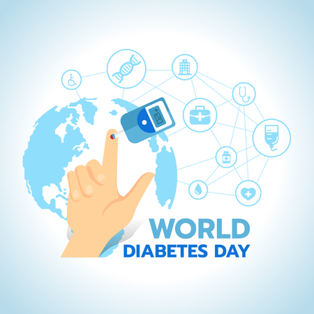 World Diabetes Day banner with Blood Sugar Test and Blood on the finger on blue world map with abstract connect link to Medical icons sign vector design.