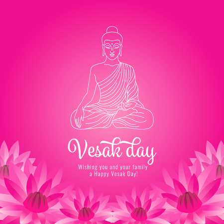 Vesak day banner with white abstract line buddha and pick lotus on pink background vector design