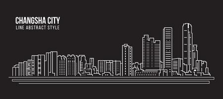 Cityscape Building Line art Vector Illustration design - Changsha city